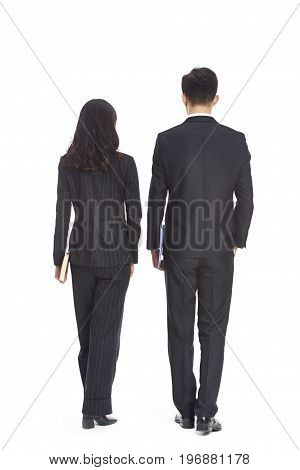young asian business man and woman walking rear view isolated on white background.