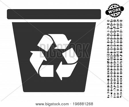 Recycle Bin icon with black bonus work icon set. Recycle Bin vector illustration style is a flat gray iconic symbol for web design, app user interfaces.