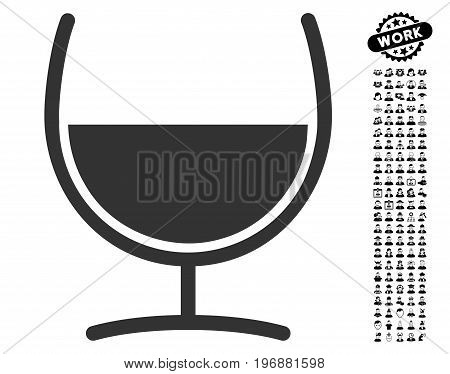 Remedy Glass icon with black bonus profession pictures. Remedy Glass vector illustration style is a flat gray iconic element for web design, app user interfaces.
