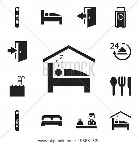 Set Of 12 Editable Hotel Icons. Includes Symbols Such As Open Sign, Check In, Baggage And More