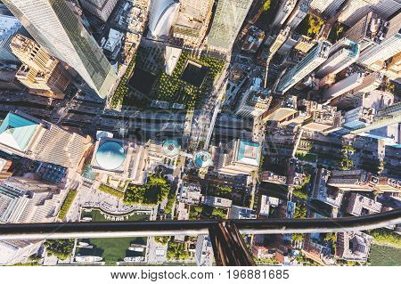 NEW YORK - JULY 02 2016: Aerial view of One World Trade Center, Manhattan, New York