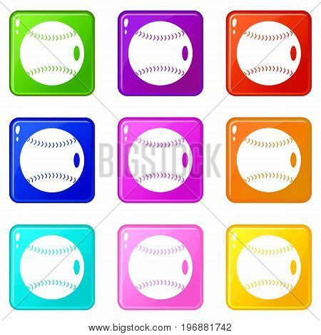 Baseball ball icons of 9 color set isolated vector illustration