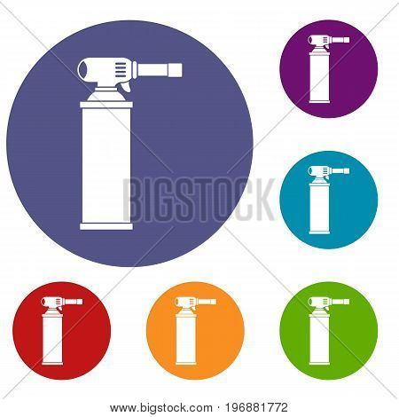 Gas cylinder icons set in flat circle red, blue and green color for web