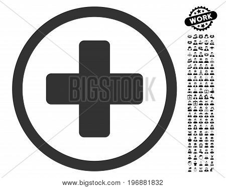 Rounded Plus icon with black bonus profession pictures. Rounded Plus vector illustration style is a flat gray iconic symbol for web design, app user interfaces.