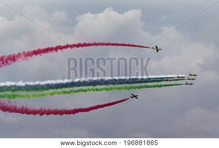 Aerobatic team making loopings in the air. Russia Moscow Airshow in July 2017