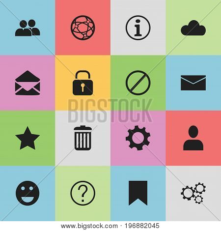 Set Of 16 Editable Network Icons. Includes Symbols Such As Security, Sky, Bookmark And More