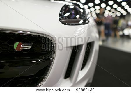 Sankt-Petersburg Russia July 21 2017: Front view of Jaguar F-Type coupe S . Car exterior details. Photo Taken on Royal Auto Show July 21