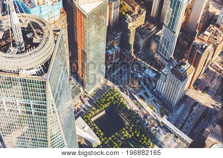 NEW YORK - JULY 02 2016: Aerial view of the Freedom Tower at One World Trade Center, Manhattan, New York