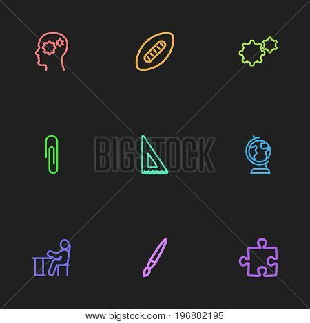 Set Of 9 Editable Science Outline Icons. Includes Symbols Such As Puzzle, Gear, Student And More