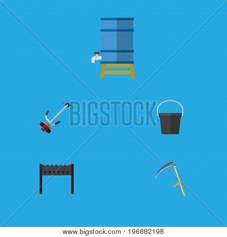 Flat Icon Dacha Set Of Pail, Barbecue, Cutter And Other Vector Objects
