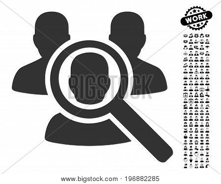 Search Patient icon with black bonus profession design elements. Search Patient vector illustration style is a flat gray iconic symbol for web design, app user interfaces.