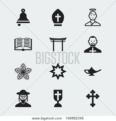Set Of 12 Editable Dyne Icons. Includes Symbols Such As Indian Flower, Gospel, Hebrew And More