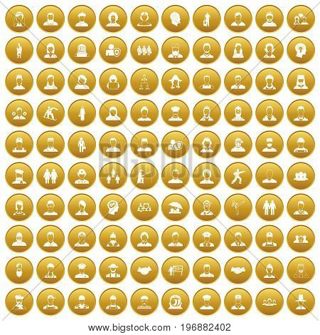 100 people icons set in gold circle isolated on white vector illustration