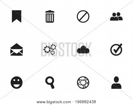 Set Of 12 Editable Network Icons. Includes Symbols Such As Emoji, Deny, Sky And More