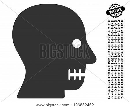 Sewn Mouth icon with black bonus profession pictures. Sewn Mouth vector illustration style is a flat gray iconic element for web design, app user interfaces.