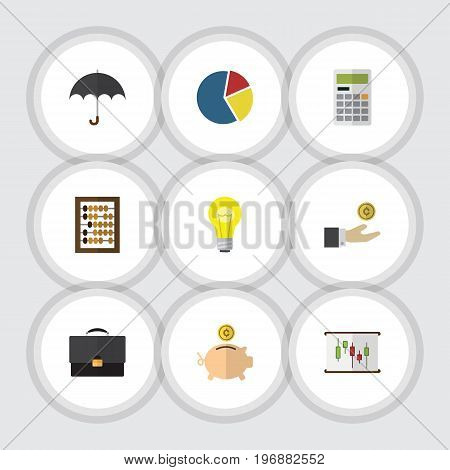Flat Icon Incoming Set Of Hand With Coin, Graph, Calculate Vector Objects