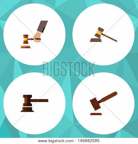 Flat Icon Court Set Of Government Building, Crime, Court And Other Vector Objects
