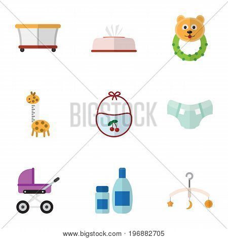 Flat Icon Child Set Of Playground, Cream With Lotion, Mobile And Other Vector Objects