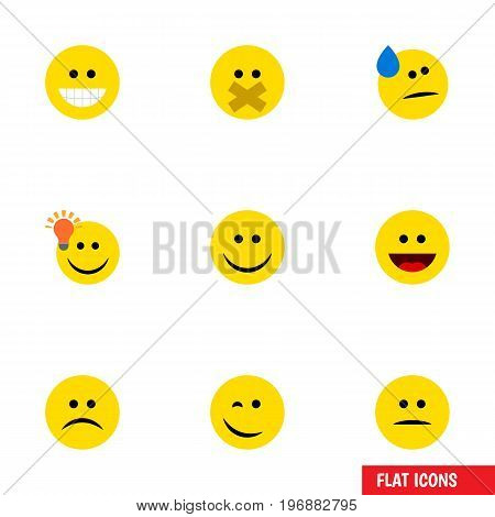 Flat Icon Gesture Set Of Joy, Winking, Laugh And Other Vector Objects
