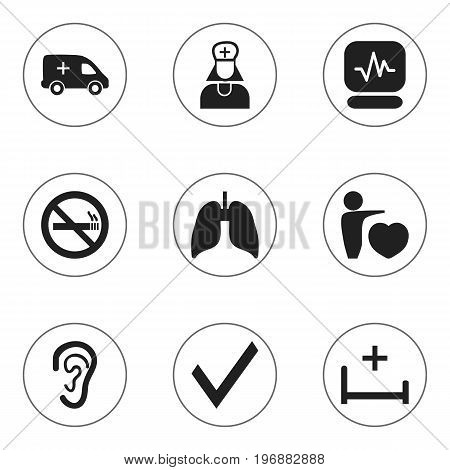 Set Of 9 Editable Health Icons. Includes Symbols Such As Pulse, Listen, Respiratory Organ And More