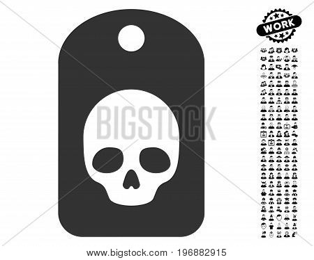 Skull Label icon with black bonus profession clip art. Skull Label vector illustration style is a flat gray iconic element for web design, app user interfaces.