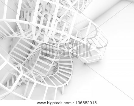 Abstract Digital Background, White Wire 3D Knot