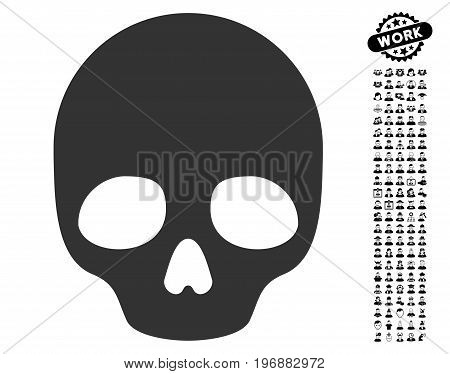 Skull icon with black bonus profession symbols. Skull vector illustration style is a flat gray iconic element for web design, app user interfaces.