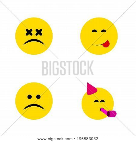 Flat Icon Face Set Of Cross-Eyed Face, Sad, Delicious Food And Other Vector Objects