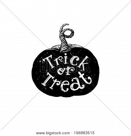 Trick or treat holidays quote on hand drawn pumpkin. Vector art. Unique design element for poster or banner. Happy Halloween typography symbol with pumpkin and lettering.
