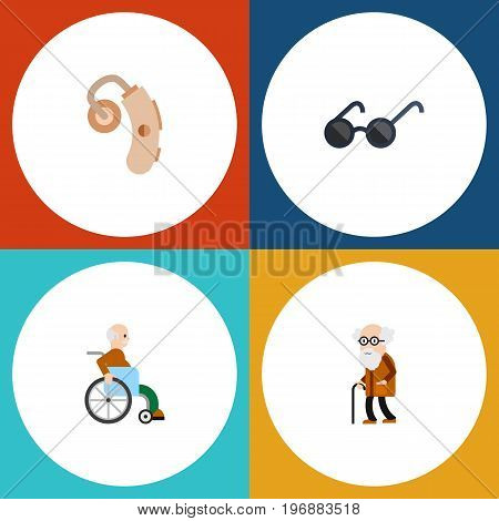 Flat Icon Cripple Set Of Spectacles, Audiology, Handicapped Man Vector Objects