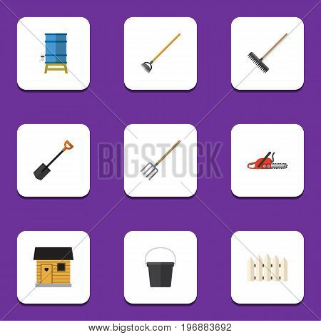Flat Icon Garden Set Of Stabling, Hacksaw, Wooden Barrier And Other Vector Objects