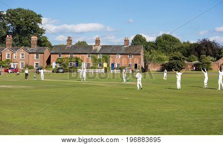 HARTLEY WINTNEY, SURREY/UK- Aug 6TH 2016: Hartley Wintney CC - 1st XI Vs Paultons CC - 1st XI village amateur cricket league match open to public to watch on the public village green.