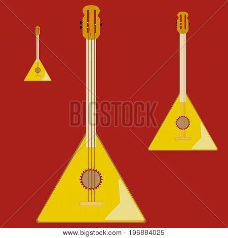 Balalaika. Traditional russian folk musical Instrument. Flat vector Illustration