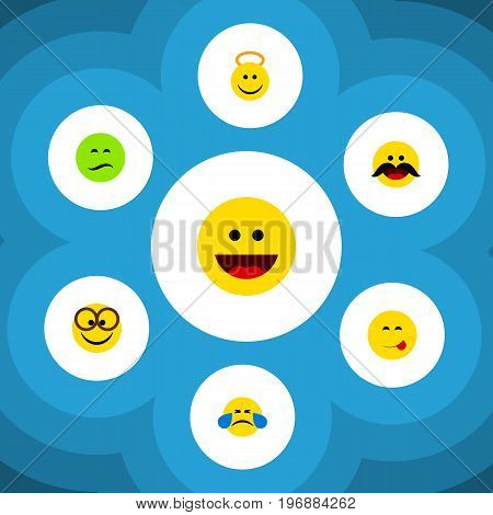 Flat Icon Expression Set Of Cheerful, Frown, Delicious Food And Other Vector Objects