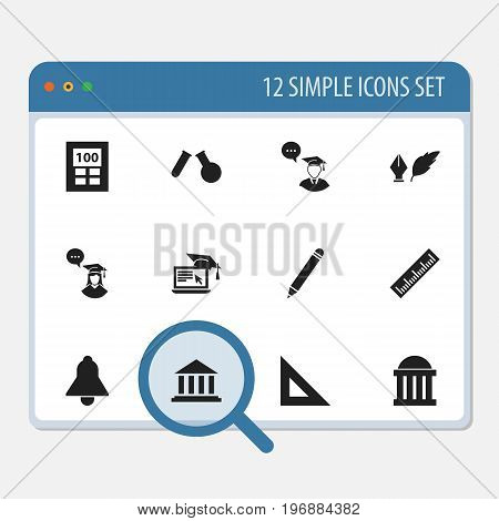 Set Of 12 Editable Science Icons. Includes Symbols Such As Bell, Calculator, Pencil And More