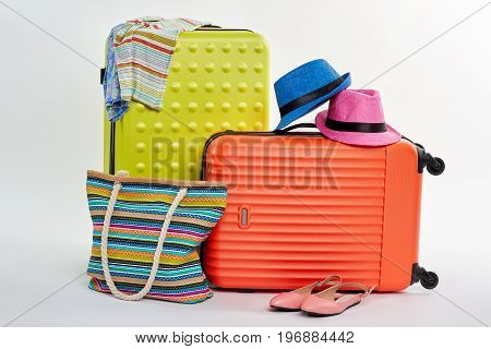 Baggage for family summer rest. Relocation for south for bright emotions.