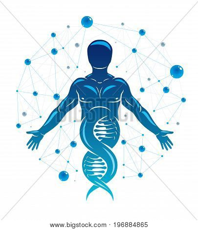 Athletic man vector illustration made using DNA symbol and futuristic molecular connections. Human as the object of biochemistry research genetic engineering.