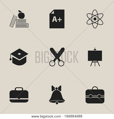 Set Of 9 Editable School Icons. Includes Symbols Such As Textbook, Jingle, Cutting And More