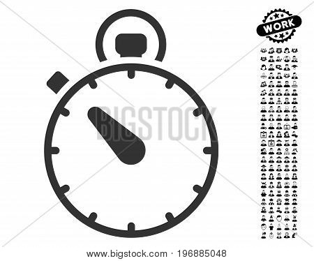 Stopwatch icon with black bonus job pictograph collection. Stopwatch vector illustration style is a flat gray iconic element for web design, app user interfaces.