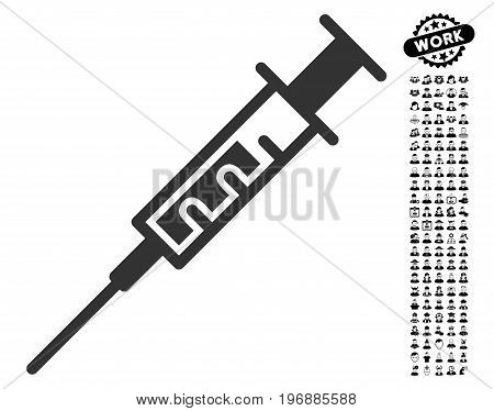 Syringe icon with black bonus job pictograph collection. Syringe vector illustration style is a flat gray iconic symbol for web design, app user interfaces.