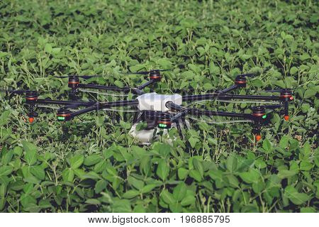 Professional big drone has landed and stands on a green field. Agriculture industry concept drone