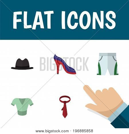 Flat Icon Clothes Set Of Panama, Cravat, Heeled Shoe And Other Vector Objects