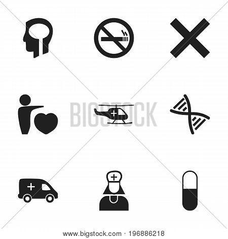 Set Of 9 Editable Clinic Icons. Includes Symbols Such As Stop Smoke, Emergency, No Check And More