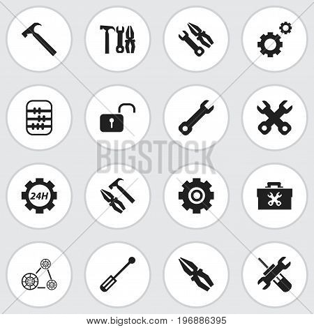 Set Of 16 Editable Tool Icons. Includes Symbols Such As Handle Hit, Maintenance, Cambelt