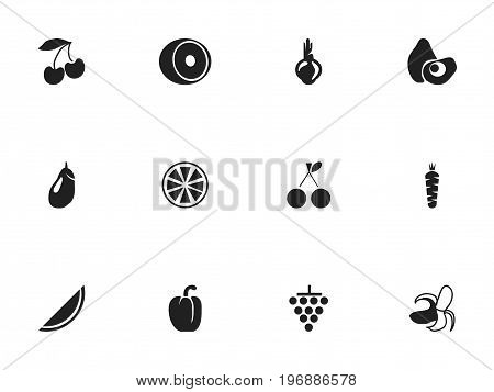 Set Of 12 Editable Dessert Icons. Includes Symbols Such As Banana, Lemon, Eggplant And More
