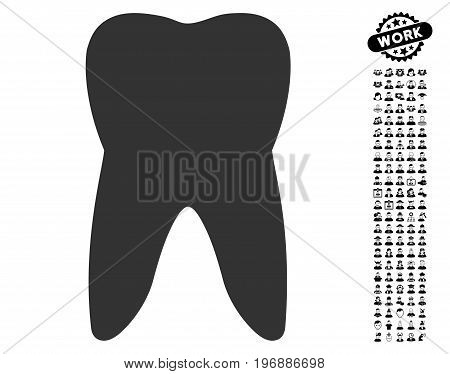 Tooth icon with black bonus men pictures. Tooth vector illustration style is a flat gray iconic symbol for web design, app user interfaces.