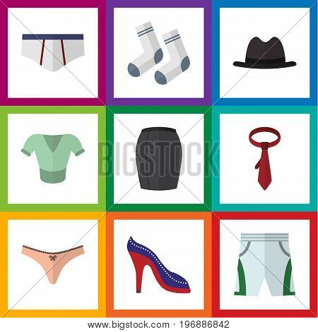 Flat Icon Garment Set Of Stylish Apparel, Foot Textile, Underclothes And Other Vector Objects