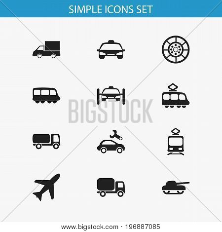 Set Of 12 Editable Shipment Icons. Includes Symbols Such As Repairing, Washing Auto, Streetcar And More