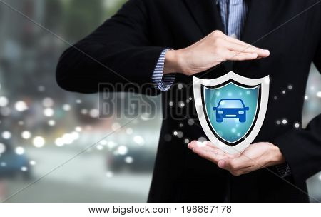 business employees protecting customer care concept car insurance.