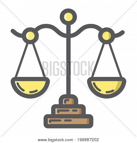 Libra filled outline icon, business and finance, scale sign vector graphics, a colorful line pattern on a white background, eps 10.